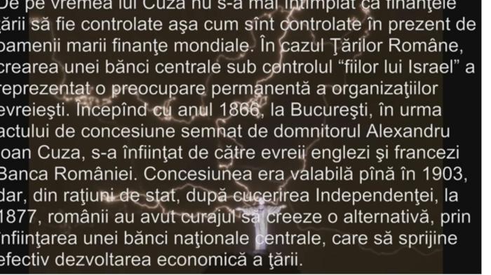 """Din istoria bancară a României: printr-o concesiune semnată de Cuza la 1866 , (valabilă pînă în 1903),  s-a înființat la București, de către bancheri evrei din Franța și Anglia, """"Banca României"""", ca Filială a Băncii Imperiale Otomane de la Istanbul. În urma victoriei Războiului de Independență însă, și ieșirea de sub tutela otomană, românii patrioți de la putere au răsturnat situația, creînd alternativa unei instituții financiare naționale care să sprijine cu adevărat dezvoltarea țării. Actul s-a semnat 3 ani mai tîrziu, la 17 aprilie 1880, prin crearea oficială a Băncii Naționale aRomâniei."""