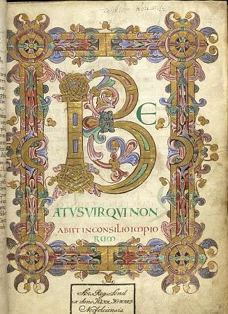 Pentru Săptămîna Albă care urmează, și următoarele ale Sfîntului și Marelui Post din acest an, o frumoasă pagină miniată dintr-un vechi manuscris englez (sec XI-XII): BEATUS VIR QUI NON ABIIT IN CONSILIO IMIPIORUM (London, British Library Arundel MS 155, f. 12r) – FERICIT BĂRBATUL CARE N-A UMBLAT ÎN SFATUL NECREDINCIOȘILOR (şi în calea păcătoşilor nu a stat şi pe scaunul hulitorilor n-a şezut; Ci în legea Domnului e voia lui şi la legea Lui va cugeta ziua şi noaptea – Ps 1:1-2) – de la blogul drag nouă https://forthewynnblog.wordpress.com