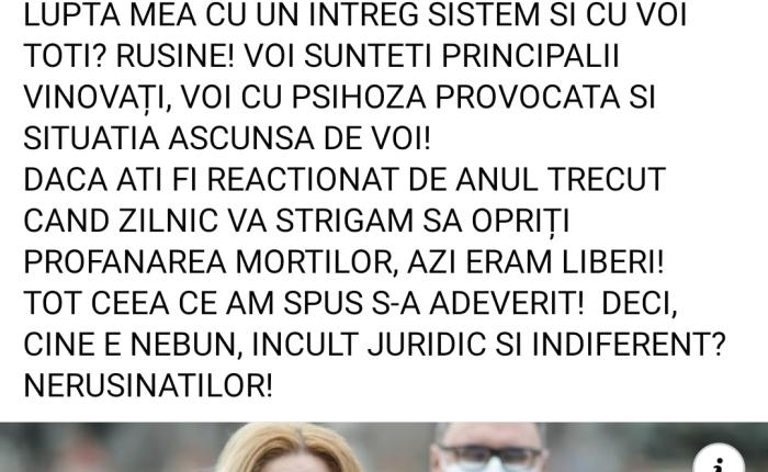 Rechizitoriul Senatorului Diana Iovanovici-Şoşoacă la adresa întregii prese criminal-aservite, dar și a celor care prin pasivitate, tăcere, lașitate, frică și lene accepta să se profaneze  trupurile neînsuflețite ale familiilor lor de către PUTEREA CRIMINALA – de la ziarulFB.